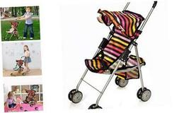 Baby Doll Stroller Foldable Striped Umbrella Carriage with B