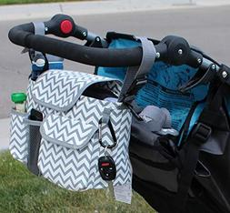 Designer Stroller Organizer & Diaper Bag with Cup Holders fo