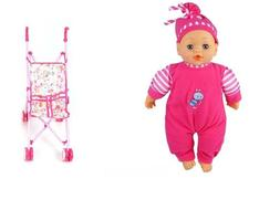Doll Stroller with Baby Doll, Foldable Umbrella Doll Strolle
