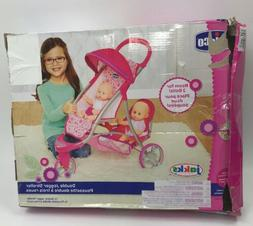 Chicco Double Jogger Stroller for Baby Dolls, 1-Pink, Small,