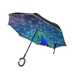 ALAZA Double Layer Inverted Blue Peacock Umbrella Cars Rever