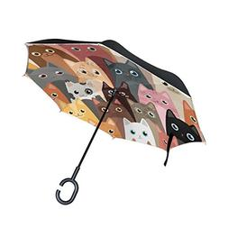 ALAZA Double Layer Inverted Cartoon Cats Umbrella Cars Rever