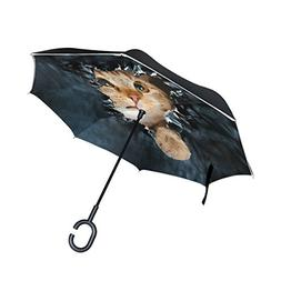 ALAZA Double Layer Inverted Cat Umbrella Cars Reverse Windpr