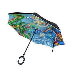 ALAZA Double Layer Inverted Chinese Dragon Umbrella Cars Rev