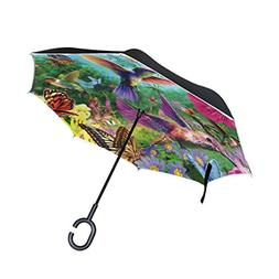 ALAZA Double Layer Inverted Hummingbird Flower Umbrella Cars