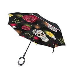 ALAZA Double Layer Inverted Mexican Skull Rose Umbrella Cars