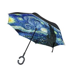 ALAZA Double Layer Inverted Van Gogh Starry Sky Umbrella Car