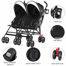 Foldable Twin Baby Double Stroller Kids Ultralight Umbrella