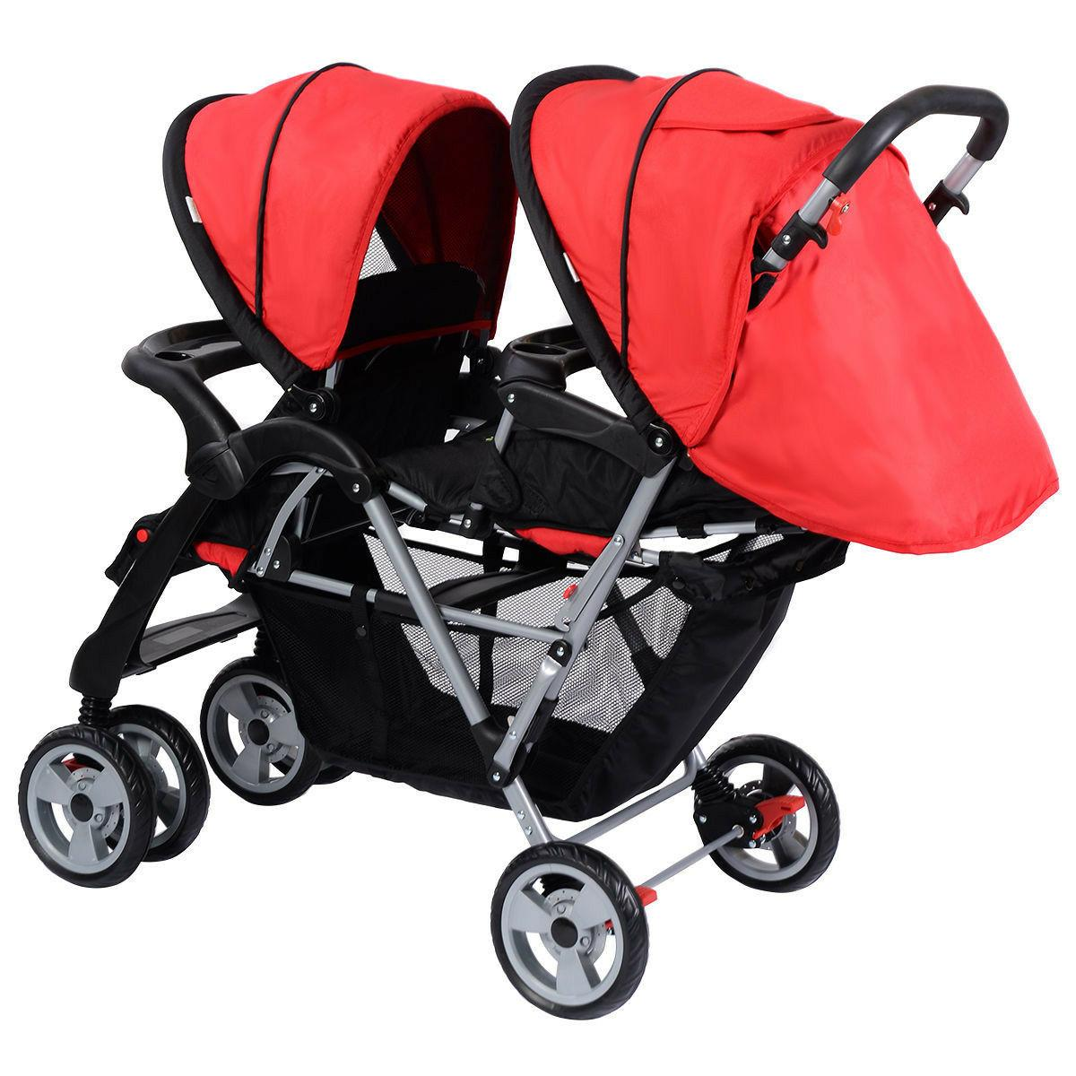 Baby Twin Stroller System Kids Double Umbrella Pushchair