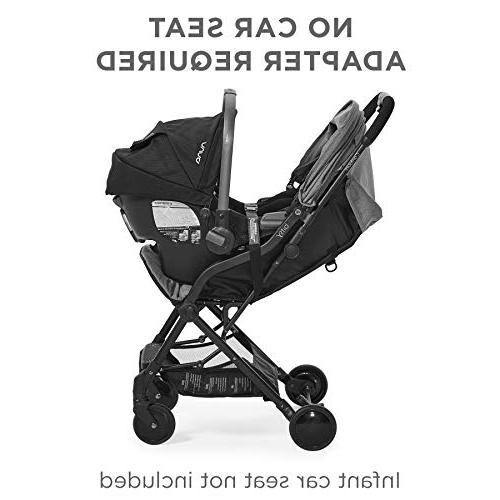 Contours Bitsy Lightweight Stroller, Canopy, Reclining Seat, Friendly, One-Hand Large Storage Basket, Seat Compatibility, Granite