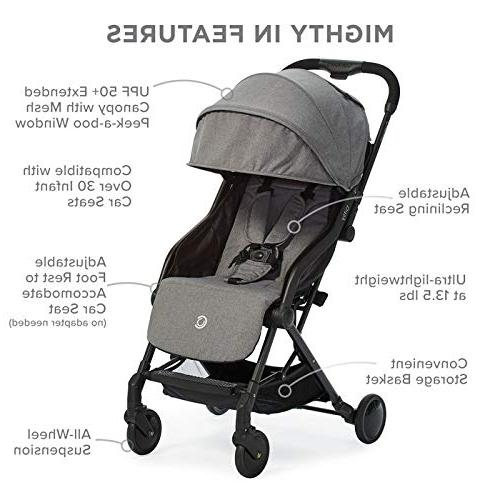 Contours Fold Lightweight Stroller, Canopy, Reclining Friendly, One-Hand Storage Basket, Adapter-Free Seat Compatibility, Grey