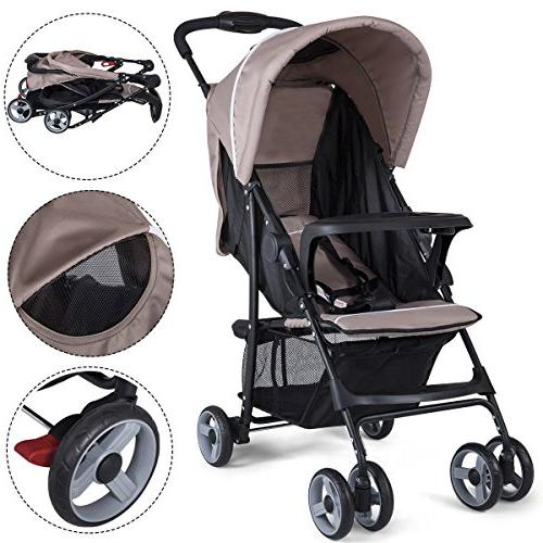 Costzon Lightweight Foldable Stroller 5-Point Safety System and Position Seat