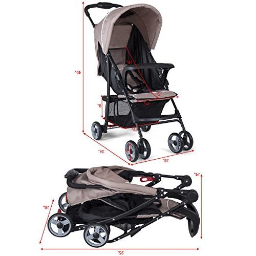 Costzon Baby Foldable Stroller Safety System and Position Seat