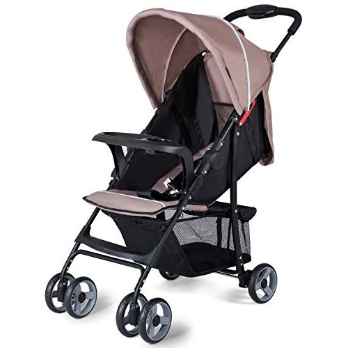 Costzon Lightweight Baby Stroller, Foldable Stroller with 5-Point Safety System Multi Position Reclining