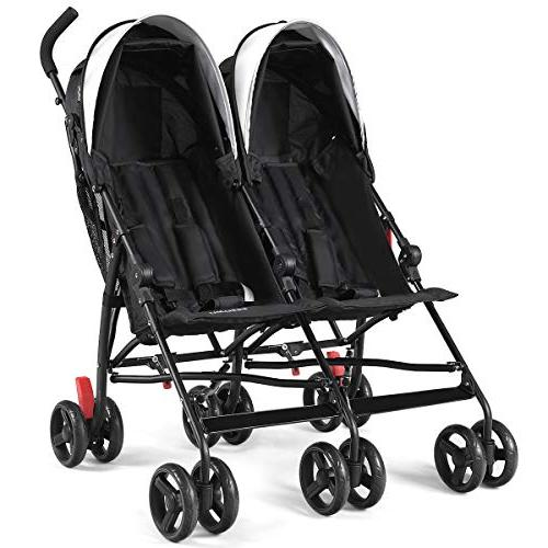 BABY JOY Double Stroller, Travel Foldable Twin Umbrella Stroller with 5-Point Sun Canopy Toddlers