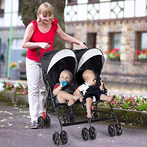 BABY JOY Light-Weight Stroller, Travel Foldable Design, Twin Umbrella 5-Point Sun Canopy Toddlers