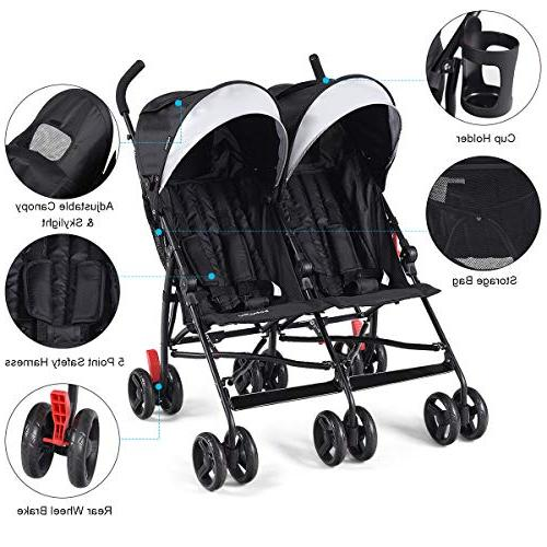 BABY Double Light-Weight Stroller, Travel Foldable Design, Twin Stroller 5-Point Sun Canopy for Baby, Toddlers