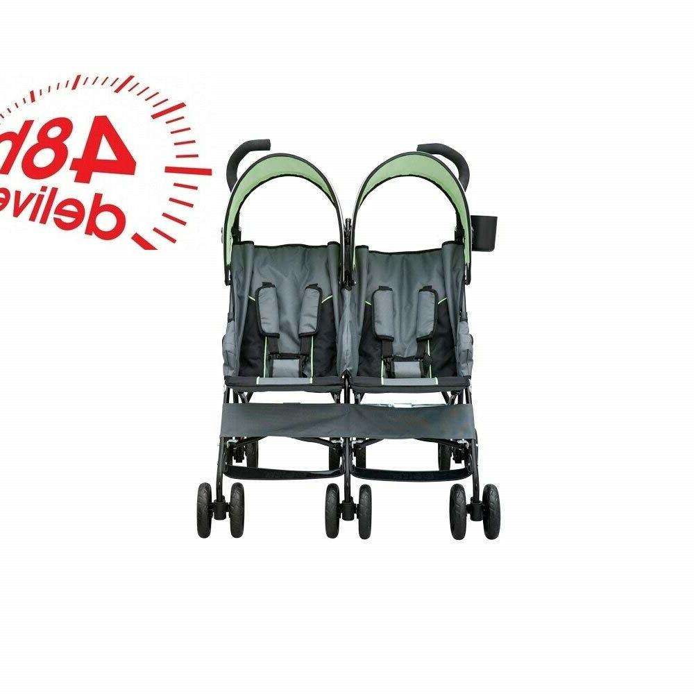 Double Stroller Twins By Side Lightweight Frame Compact Umbrella