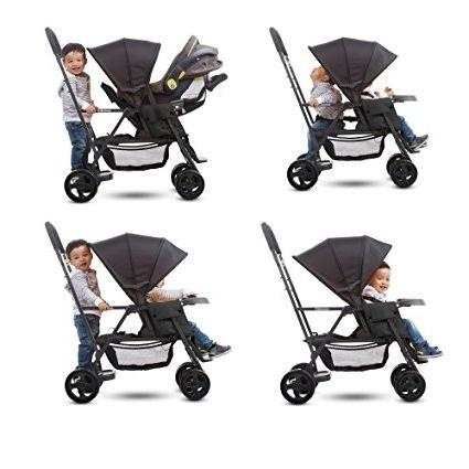 Premium Double Tandem Baby Strollers, Umbrella, Travel Ready, for 2, Toddlers and Black Color + 2 Free Strap-on