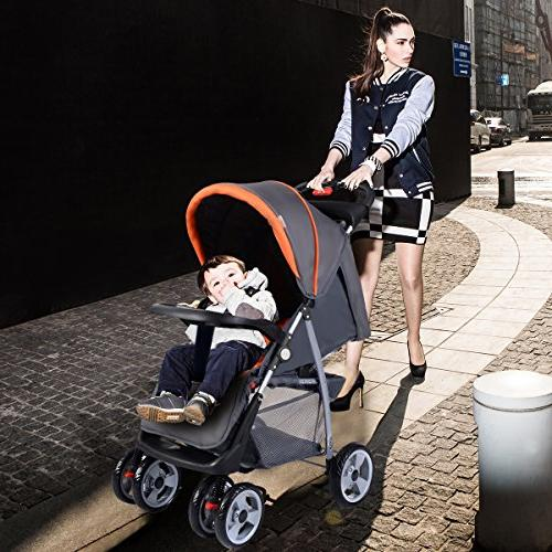 Costzon Baby Infant Pushchair Safety Multi-Position Seat, and Child Tray, Storage Suspension