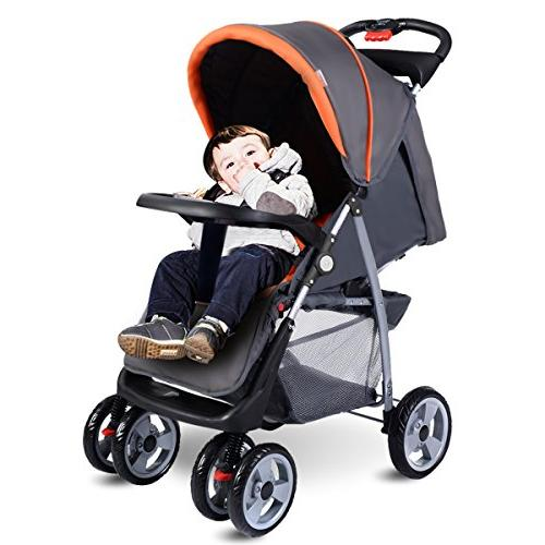 Costzon Foldable Infant Pushchair with 5-Point Suspension Wheels, Gray