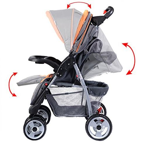 Costzon Foldable Infant Pushchair with Safety Multi-Position Seat, Parent Child Tray, Large Suspension