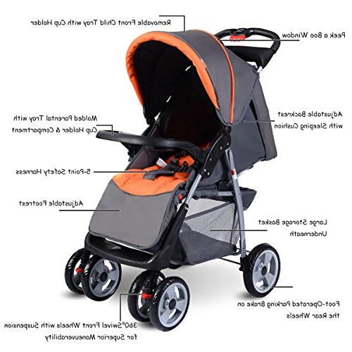 Costzon Foldable Infant with 5-Point Safety Seat, Parent and Tray, Large Storage Suspension