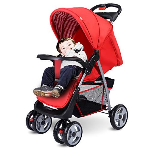 Costzon Stroller, Foldable Infant Safety Harness, Seat, and Tray, Storage Basket, Suspension Wheels,