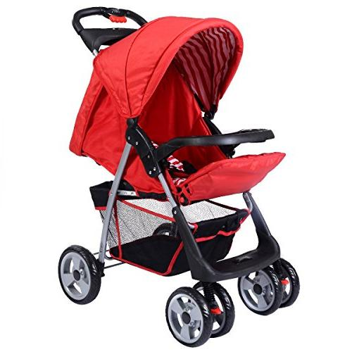 Costzon Baby Infant Pushchair with Seat, and Child Tray, Storage Suspension Red