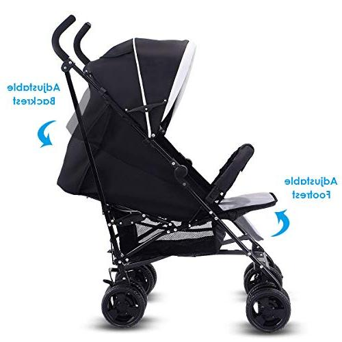 Costzon Pushchair with 5-Point Reclining Seat, Front Large Basket,