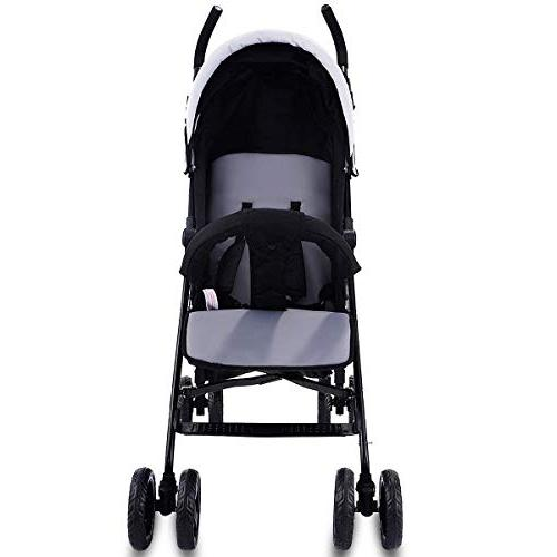 Costzon Stroller, Foldable Pushchair Harness & Reclining Front Handlebar, Large Black