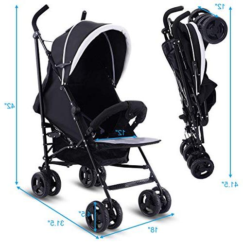 Costzon Baby Stroller, Pushchair with 5-Point Safety Harness Adjustable Reclining Seat, Front Handlebar, Large Basket,