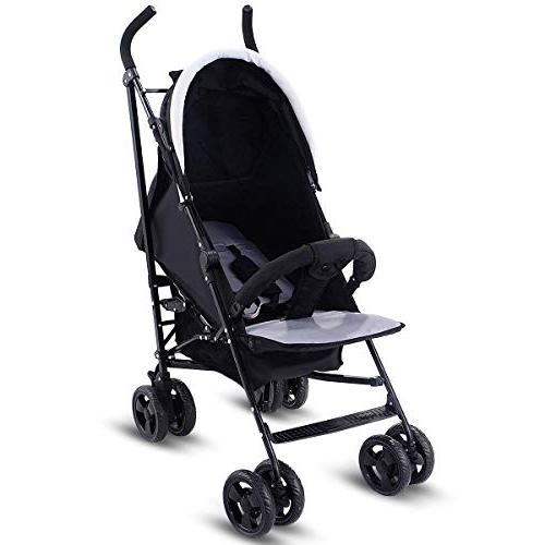 Costzon Baby Pushchair with Safety Harness & Adjustable Canopy, Reclining Large Storage Basket, Black