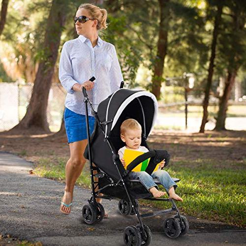 Costzon Stroller, Pushchair with Safety Harness & Adjustable Canopy, Reclining Large Storage Black