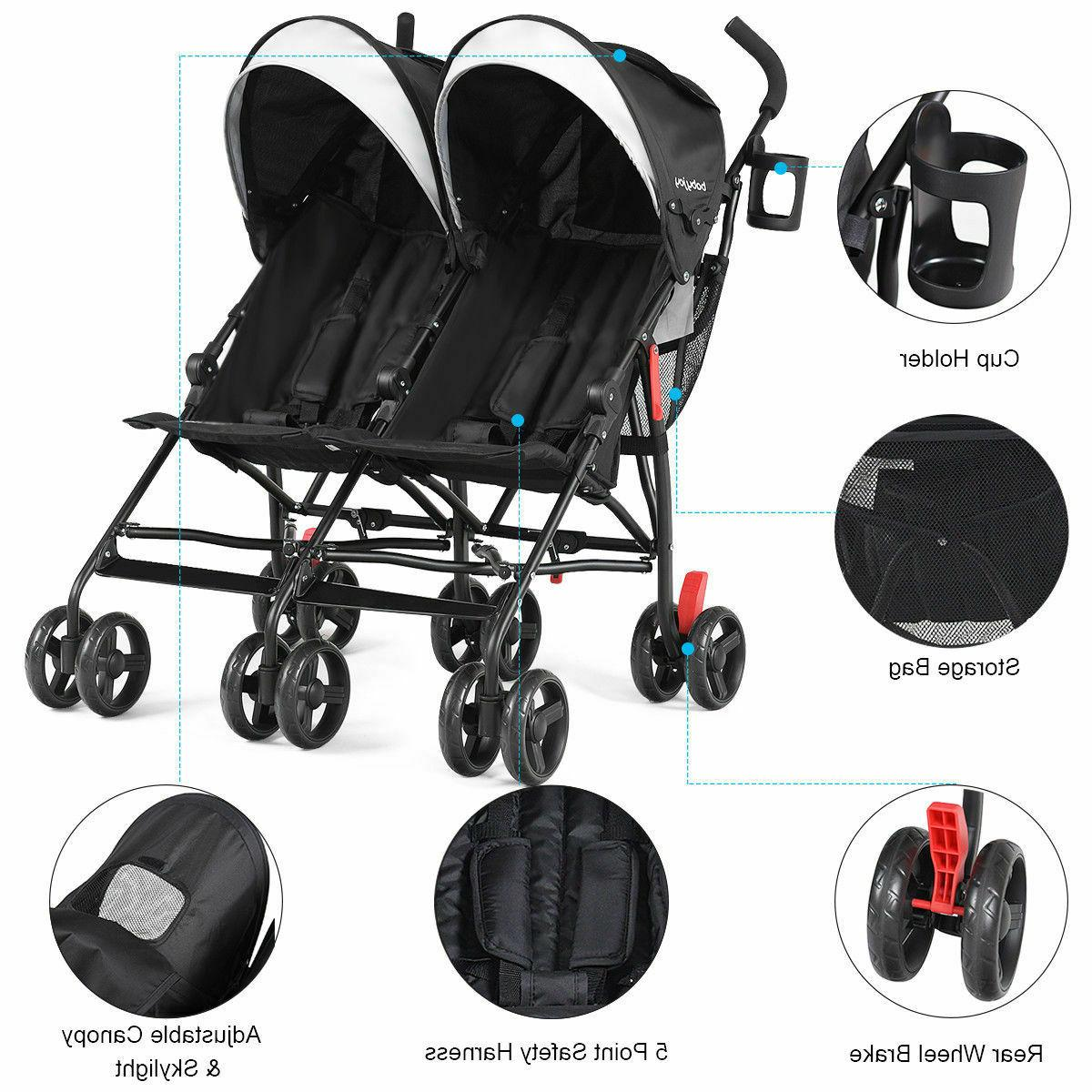 foldable twin baby double stroller kids ultralight