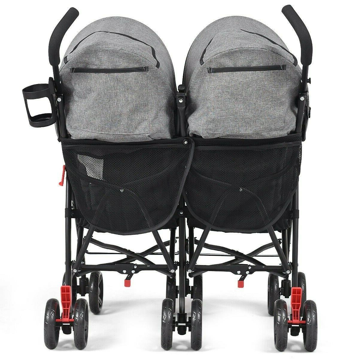 Foldable Baby Double Stroller Kids