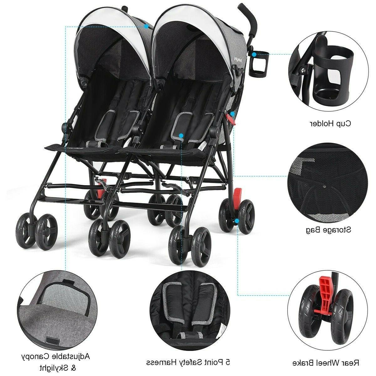 foldable twin baby toddler double stroller ultralight