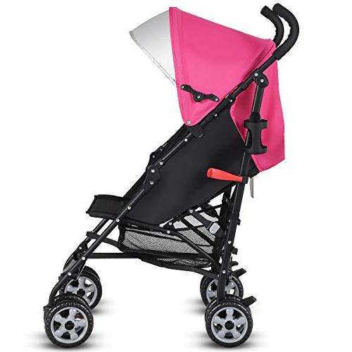BABY JOY Aluminum Baby Umbrella Stroller, with Canopy/ Harness/Cup Pink