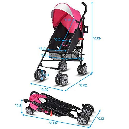 BABY Aluminum Umbrella Stroller, Foldable with Harness/Cup Holder/Storage