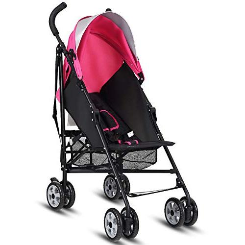 BABY Lightweight Stroller, Aluminum Stroller, with Canopy/ Harness/Cup Holder/Storage