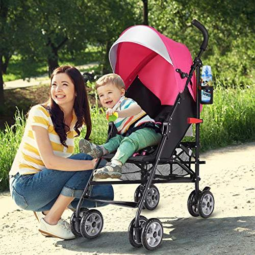 BABY Lightweight Aluminum Stroller, Travel with Oxford Harness/Cup Basket,
