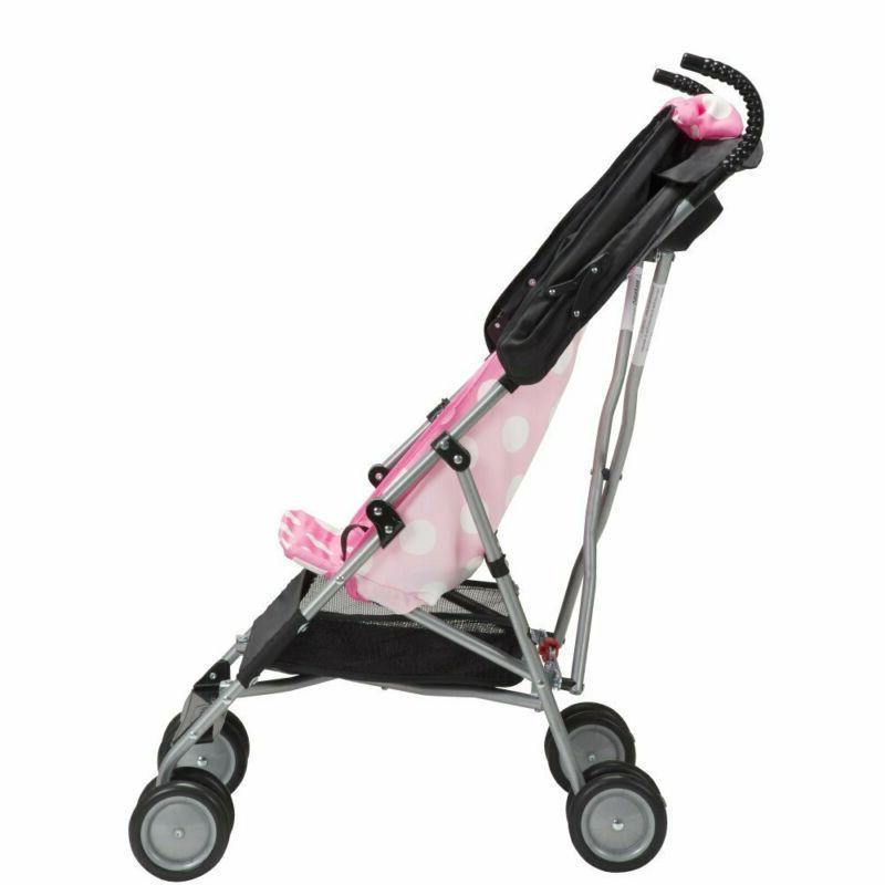 Mouse Umbrella Stroller with Basket, Compact Fold travel, Pink Minnie