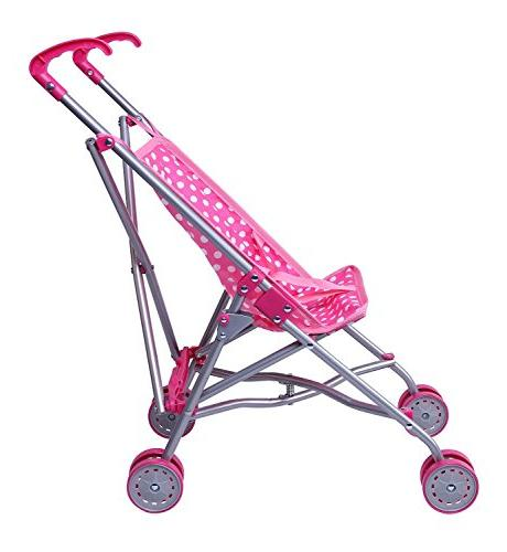 Precious Toys Pink and White Dots Doll Stroller with Pink Handles Frame 0128B