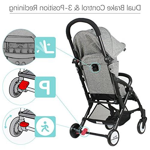 Tiny Single Stroller with Dual-Brake, Lightweight Travel Large Canopy Toddler, Baby Girls, Unisex 3 Month Old Up