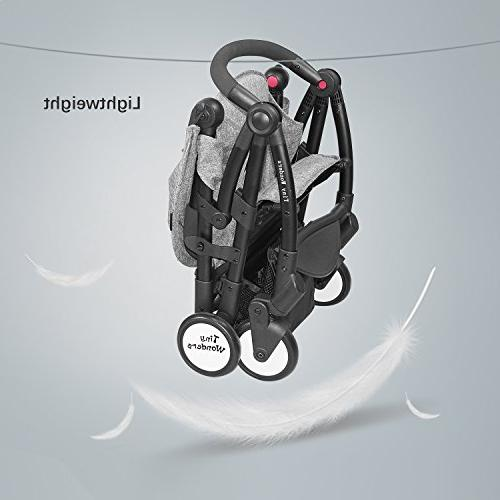 Tiny Single Baby Stroller with Dual-Brake, Portable Lightweight Travel with Large Infant, Toddler, Boys Old Up