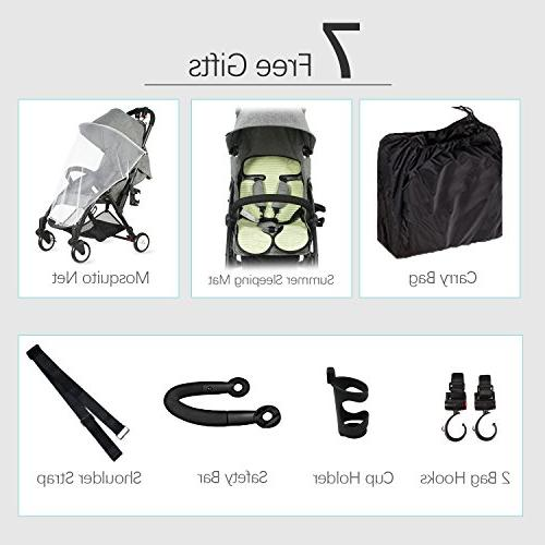 Tiny Single Stroller Dual-Brake, Lightweight Pram Large Canopy for Infant, Toddler, Baby Old and