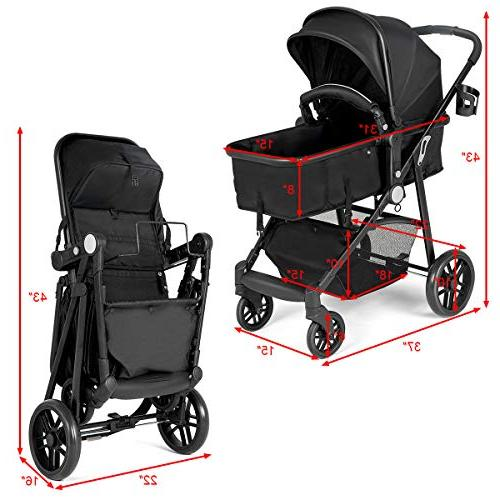 Costzon In 1 Convertible Bassinet to Stroller, with Foot Holder, Large Storage Wheels Suspension, 5-Point
