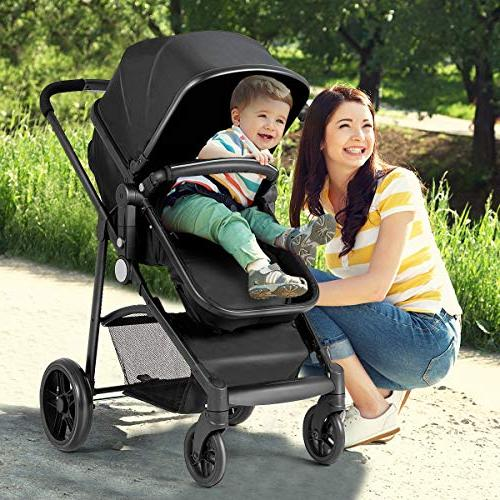 Costzon 2 In Convertible Bassinet to with Cup Holder, Wheels Suspension, Harness