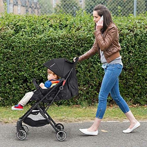 BABY Pram Baby Carriage, with 5-Point Harness, Reclining Seat, Cover, Extended Canopy, Folding Travel, Airplane Compartment