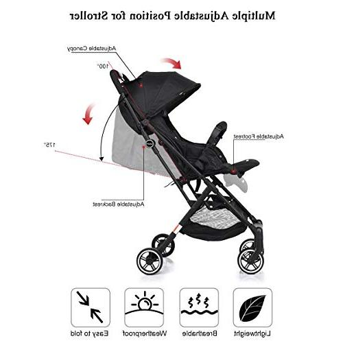 BABY JOY Baby Carriage, with Reclining Seat, Foot Cover, Extended Easy Folding Compartment